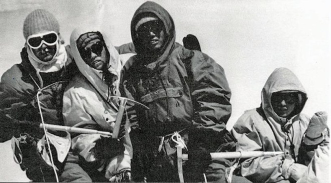 Dhaulagiri First Ascent - Kurt Diemberger, Albin Schelbert, Ngawang Dorje and Nima Dorje On Dhaulagiri Summit May 13, 1960