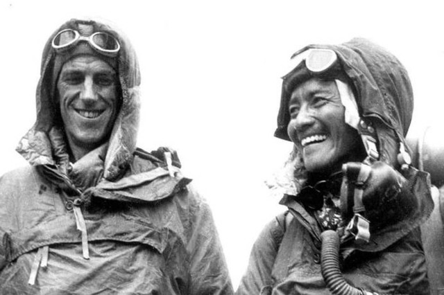 Sir Hillary and Norgay smile at the British Embassy in Kathmandu, after their conquest of Mt. Everest