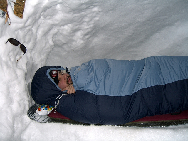 sleep bag snow cave