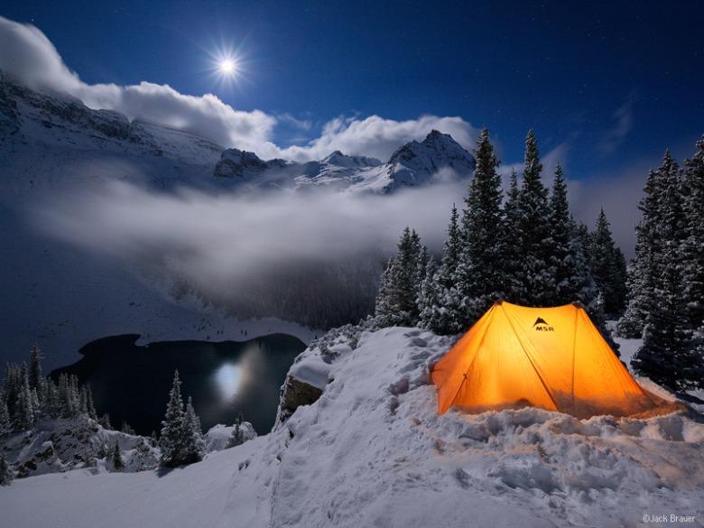 Blue Lakes Winter Moonlight
